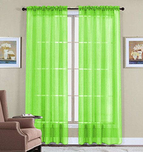 WPM 60 X 63 Inches Sheer Window Elegance Curtains/drape/panels/treatment,  Lime Green