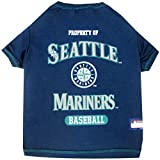 MLB SEATTLE MARINERS Dog T-Shirt, X-Small. - Licensed Shirt for Pets Team Colored with Team Logos