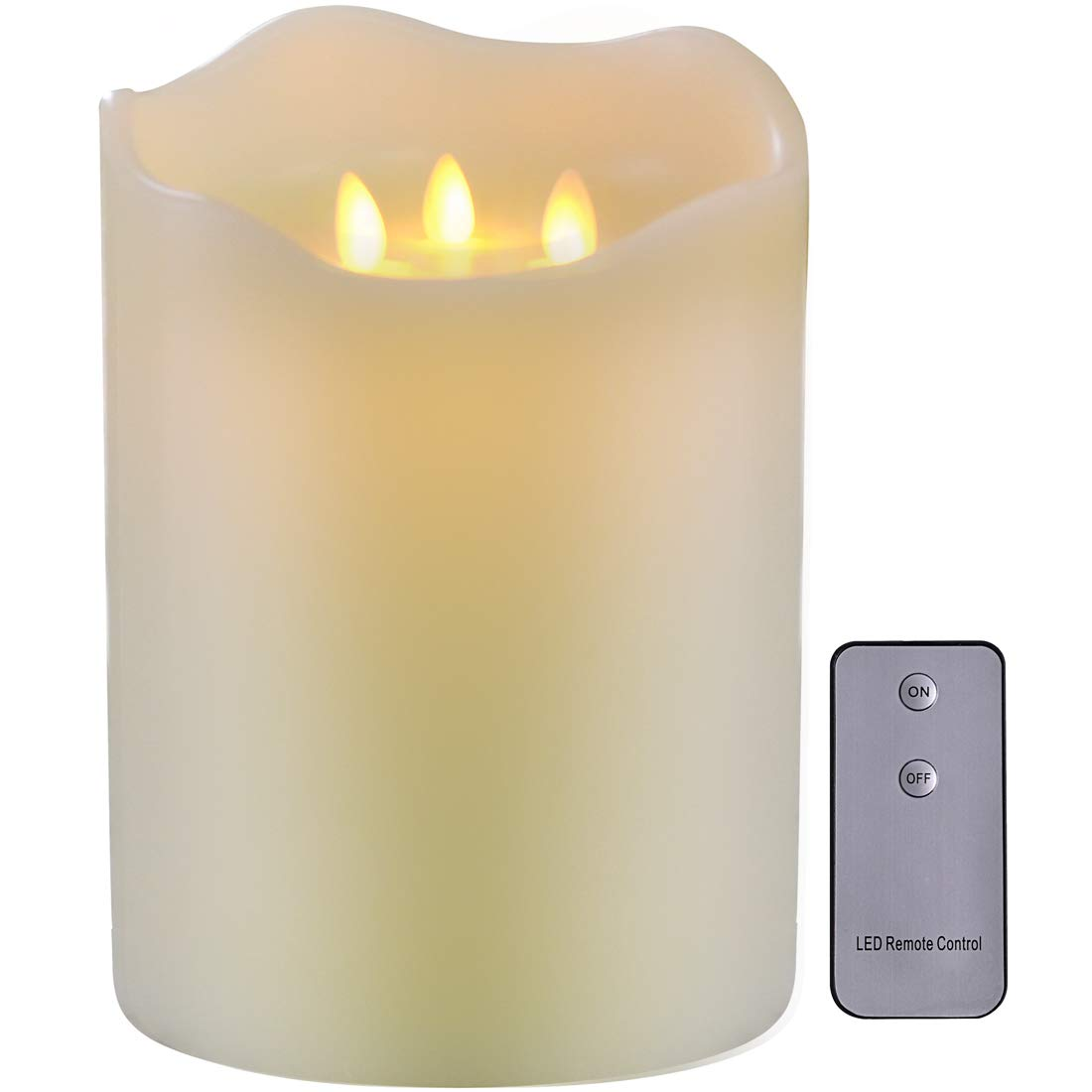 TELOSMA 3-Moving Wicks Large Candles, Flameless with Timer and Remote, Battery Operated for Home Dinner Table Bookshelf Room Wedding Decor - 9 inch Ivory