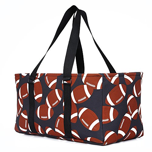 E-FirstFeeling Tote Bag All Purpose Open Top Classic Extra Large Utility Sports Prints Tote Bag Car Organizer (Football Print)