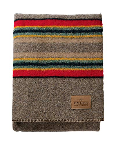Blend Blanket Throw Wool (Pendleton Yakima Camp Thick Warm Wool Indoor Outdoor Striped Throw Blanket, Mineral Umber, Twin Size)