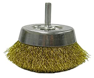 "Weiler 14311 Crimped Wire Utility Cup Brush, 2-3/4"", 0.118"" Brass Fill, 1/4"" Stem"