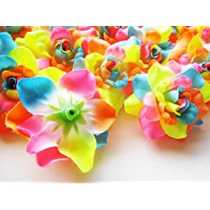 """(100) Silk Neon Roses Flower Head - 1.75"""" - Artificial Flowers Heads Fabric Floral Supplies Wholesale Lot for Wedding Flowers Accessories Make Bridal Hair Clips Headbands Dress 3"""