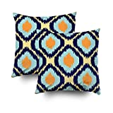 ROOLAYS Decorative Throw Square Pillow Case Cover 18X18Inch,Cotton Cushion Covers Ikat geometric pattern Orange blue Both Sides Printing Invisible Zipper Home Sofa Decor Sets 2 PCS Pillowcase