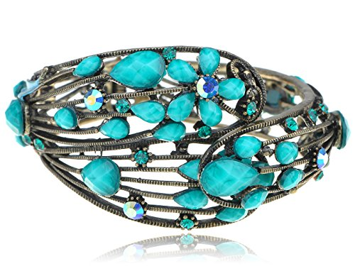 Jeweled Cuff Bracelet - Alilang Turquoise Jeweled Metallic Blue Crystal Rhinestone Flower Cuff Bangle Bracelet