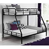 Space Saving Metal Twin/Full Over Full Bunk Bed with Bunk Bed dimensions: 77.5L x 56.5W x 60.5H, Black