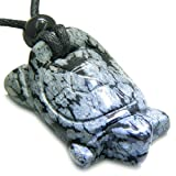 Amulet Lucky Charm Turtle Snowflake Obsidian Evil Eye Protection Pendant Necklace