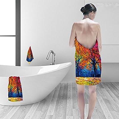 "Nalahomeqq Bath towel set Oil painting landscape colorful autumn trees Modern impressionism Nikolov 3D Digital Printing No Chemical OdorEco-Friendly Non Toxic13.8 x 13.8-11.8""x27.6""-27.6""x55.2"""