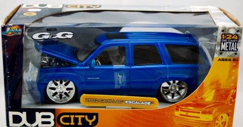 - 2004 - Jada Toys - Dub City - 2002 Cadillac Escalade - Blue - GFG Dresden 8 Wheels - Die Cast - 1:24 Scale - Limited Edition - Collectible - (V)