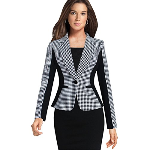 Houndstooth Blazer (Women's Houndstooth Slim Waist One Button Work Womens Blazer Jacket Tops Women Blazer Jacket Tops for Women)