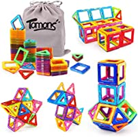 Tomons Magnetic Building Blocks Magnetic Tiles for Kids, Magnetic Blocks Stacking Blocks with Storage Bag - 64 PCS