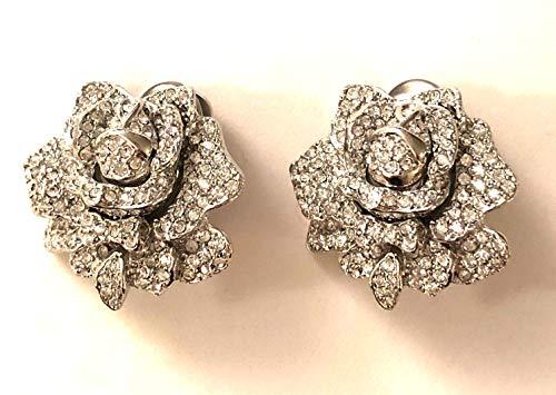Kenneth Jay Lane, Vintage All Over Crystal Rose Clip Earrings, Last ONE!!! Beyond Beautiful Work of Art