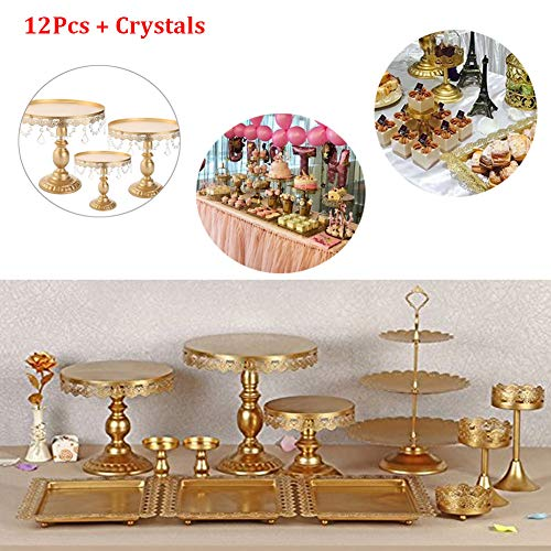 12 Pieces/Set Gold Cake Stands and Pastry Trays,Metal Wedding Cupcake Stand Set Pedestal/Display/Plate/Stands and Trays with Crystals and Beads,Birthday Party Wedding Decorations for Tables