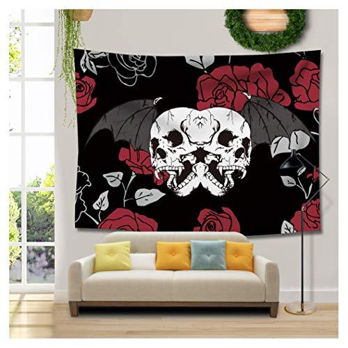 Cheap  RAISEVERN Halloween Skull Design Skeletons Tapestry Black and Red Rose Home Decoration..