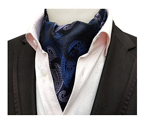 Men's Blue Purple Navy Satin Paisley Silk Cravat Ties Elegant Ascot Casual (Satin Paisley Silk)