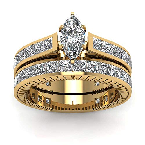(Yellow Gold Filled Bridal Sets Marquise Cut Cz Engagement Ring 2pcs Womens Wedding Ring Sets)