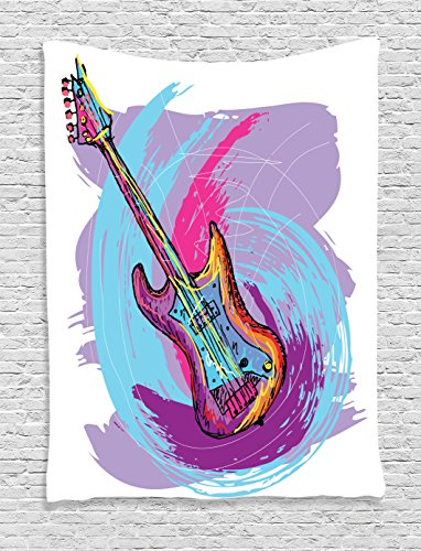 (Ambesonne Grunge Home Decor Tapestry, Hand Drawn Electric Guitar with Motley Curved Grunge Effects Modern Music Icon, Bedroom Living Room Dorm Decor, 40 W x 60 L inches, Pink Purple Blue)