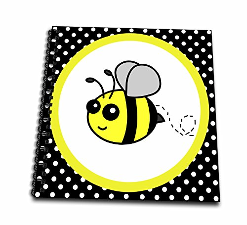 - 3dRose db_57078_2 Cute Yellow Bumble Bee on Black and White Polka Dots Memory Book, 12 by 12