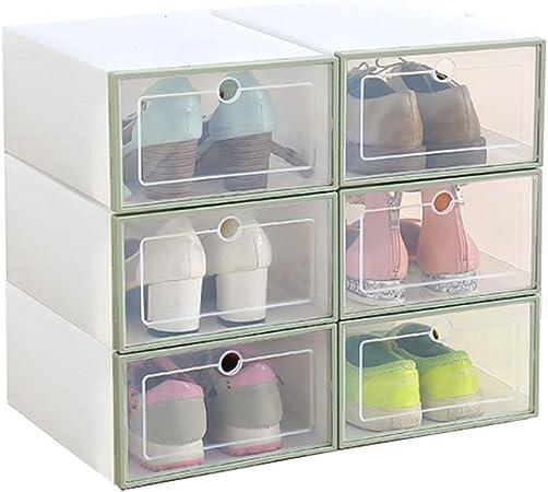 Romancemit Caja de almacenamiento de zapatos, 6 piezas cajas de zapatos de plástico apilable plegable Inicio Organizador de zapatos para hombres/mujeres de gran tamaño: Amazon.es: Hogar