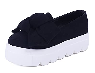 MayBest Womens Casual Bow Tie Flats Slip On Comfort Mid Heel Moccasins Pumps Loafers Creepers Sneakers