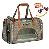 Cheap Playay Premium Airline Approved Soft Sided Pet Carrier, Low Profile Luxury Travel Bag with Fleece Bedding & Safety Lock, Under Seat Compatibility, Perfect for Cats and Small Dogs