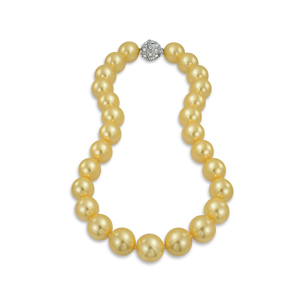 Bling Jewelry Golden Yellow Strand Necklace For Women Rhodium Plated Crystal Clasp Simulated Pearl 14mm 16 inch DT-N14mmprl-GDN-16