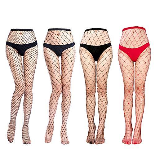 (Flashbluer Sexy Fishnet Stockings with Rhinestones Pantyhose Hosiery for Women)