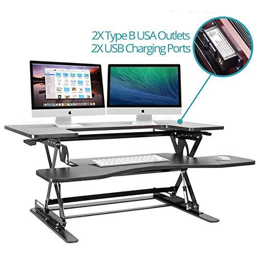 Halter ED-259 Preassembled Height Adjustable Desk Sit/Stand Elevating Desktop with 2 Power Outlets and 2 USB Charging Ports (Black)