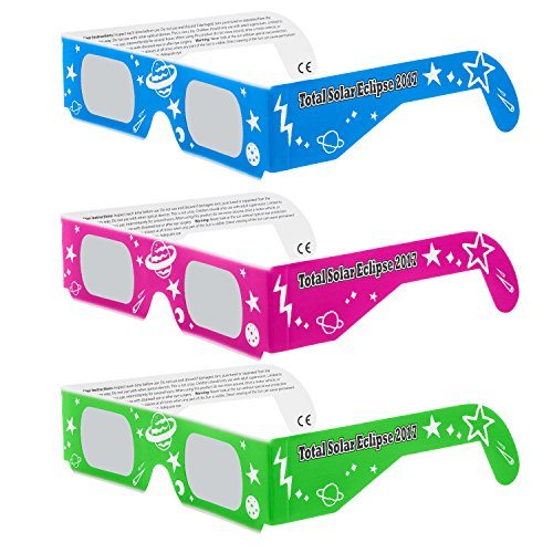 Solar Eclipse Glasses CE and ISO Certified - Safe Solar Viewing - Viewer and Filter - Made in USA - NEON (3 Pack)