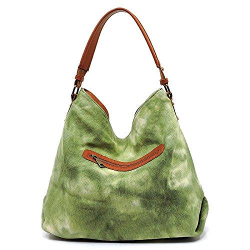 Top New Strap Hobo Patchwork Olive 5 Le Denim Miel Denim w Zip colors UaxwXraq