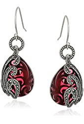 Sterling Silver Oxidized Marcasite and Garnet Colored Glass Textured Teardrop Wire Dangle Earrings