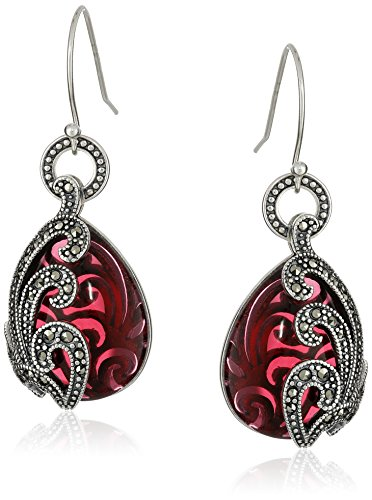 Sterling Silver Oxidized Genuine Marcasite and Garnet Colored Glass Textured Teardrop Dangle (Sterling Silver Garnet Marcasite Earrings)