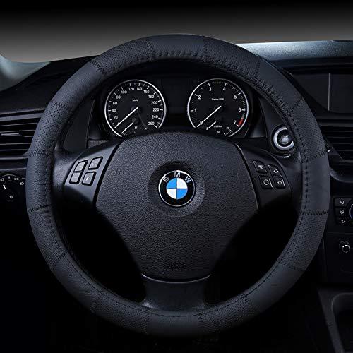 ZJWZ Steering Wheel Cover Genuine Leather Four Season Universal Steering Wheel Cover Universal Size 37-39Cm,Black ()