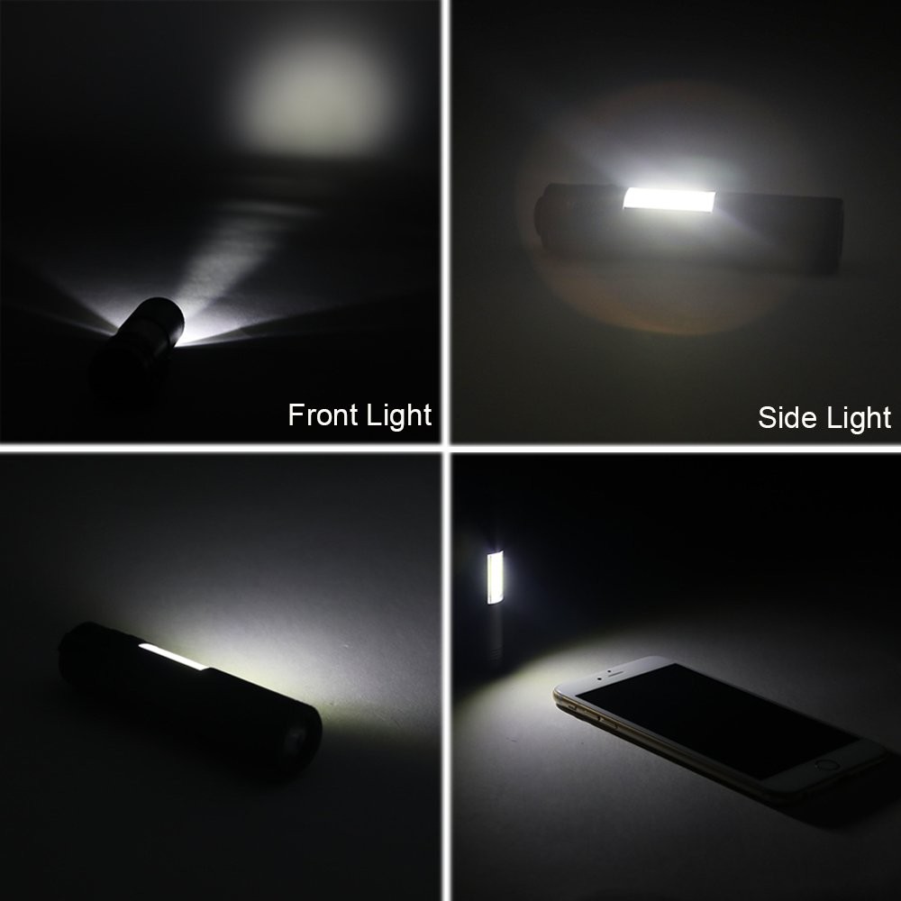 MODOAO COB LED Flashlights, Super Bright 200 Lumens Zoomable Work Light,Waterproof Pocket Lights with Cilp-6 Pack by MODOAO (Image #3)