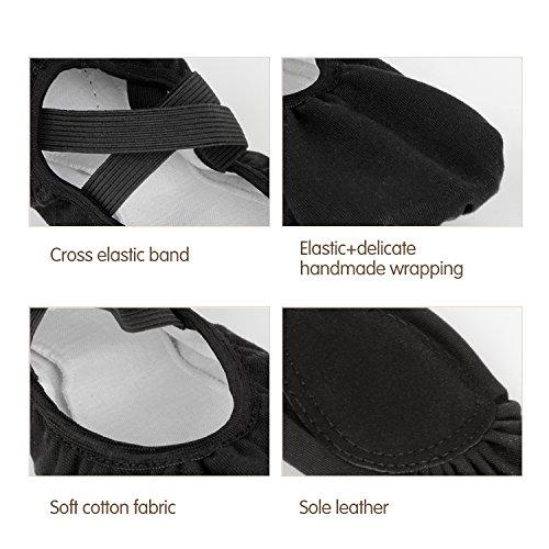 Skyrocket Zapatillas media punta de ballet suela partida de cuero Zapatos de ballet tallas 25 - 44 Negro