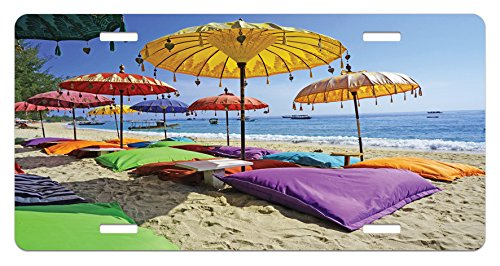 - Lunarable Balinese License Plate, Pristine Beach Bathed by The Bali Sandy Seashore Daytime Umbrellas Pillows Leisure, High Gloss Aluminum Novelty Plate, 5.88 L X 11.88 W Inches, Multicolor