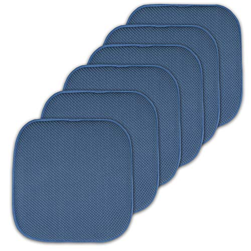 Sweet Home Collection Cushion Memory Foam Chair Pads Honeycomb Nonslip Back Seat Cover 16″ x 16″ 6 Pack Blue