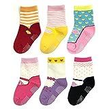 Bowbear Baby Girls 6 Pair Sweet Mary Janes Non-Slip Socks, G6PAIR01