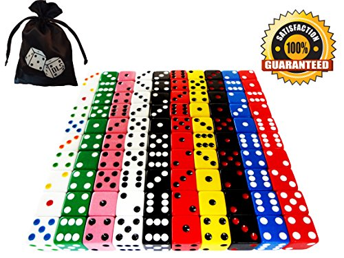 Farkle Dice - Discount Learning Supplies 100-Piece 16 mm Assorted Dice with Storage Bag
