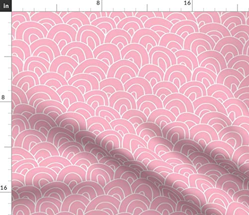 Pink Fabric - Cream Hills Waves Scallops Shingles Pink and White Print on Fabric by The Yard - Sport Lycra for Swimwear Performance Leggings Apparel Fashion (Shingle Apparel)