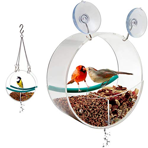 Birdious Patio Window Bird Feeder with Suction Cups and Chains: Outdoors Hanging Birdfeeder for Watching Cardinals, Finches, Blue Jays and Wild Birds. Unusual Bird Lover Gift Idea
