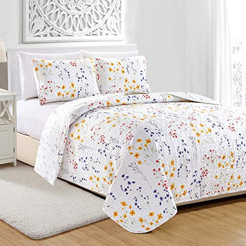 - Great Bay Home Marianne Collection 3 Piece Quilt Set with Shams. Reversible Floral Bedspread Coverlet. Machine Washable. (Twin, Multi)