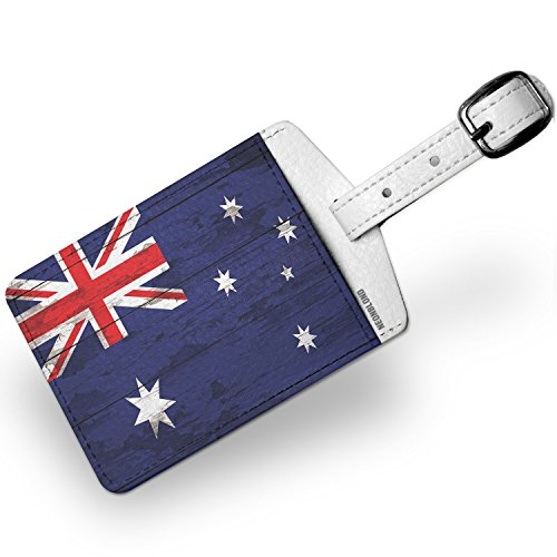 Tag Luggage Australia (Luggage Tag Flag on Wood Australia - NEONBLOND)