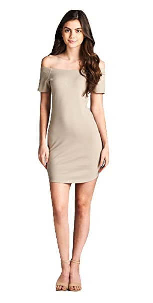 ea008516c6f5 BLACKASHMERE Women s Khaki Off Shoulder Mini Dress at Amazon Women s ...