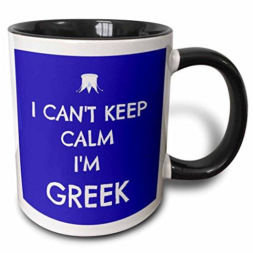 - 3dRose 172345_4 I I Cant Keep Calm I'm Greek Blue And White Two Tone Mug, 11 oz, Multicolor