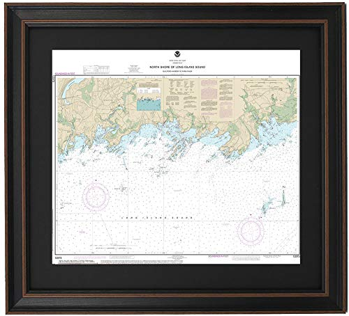 Patriot Gear Company | Framed Nautical Map 12373 : North Shore of Long Island Sound; Guilford Harbor to Farm Harbor- Standard Size