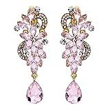 BriLove Women's Wedding Bridal Clip-On Dangle Earrings Bohemian Boho Crystal Flower Chandelier Teardrop Bling Long Earrings Pink Tourmaline Color Gold-Tone