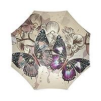 American Flag Beautiful Colorful Butterfly Anti Rain Windproof Travel Golf Sports Foldable Umbrella
