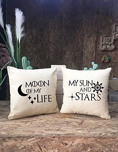 Moon of my life My sun and Stars Pillow Cover set, Coupe Pillowcase, Game of thrones Pillow cover, Wedding Gift, Couple Gifts, Anniversary ()