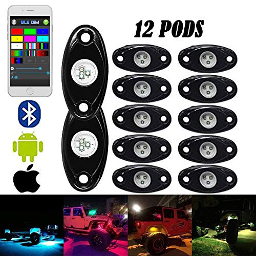 LED ROCK LIGHTs -CHZ&D 12 pods Bluetooth Controll RGB Lights for for Trucks, Jeeps, SUV, ATV - Offroad, Crawling, Climbing Waterproof, SoundSync (12 pods)